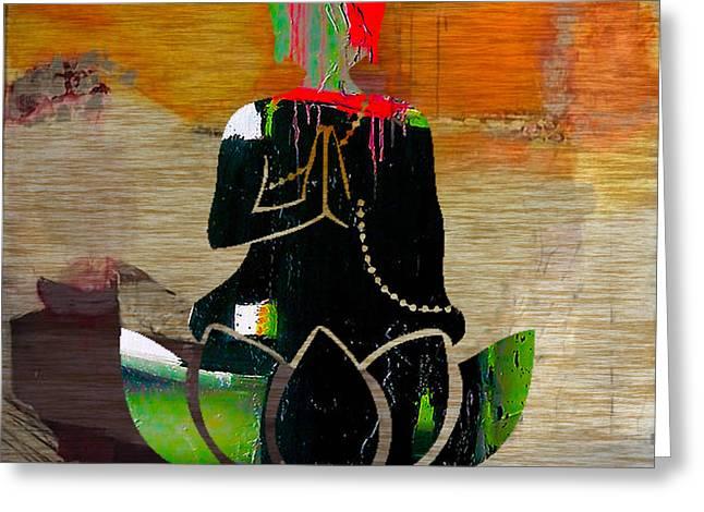 Buddah On A Lotus Greeting Card by Marvin Blaine
