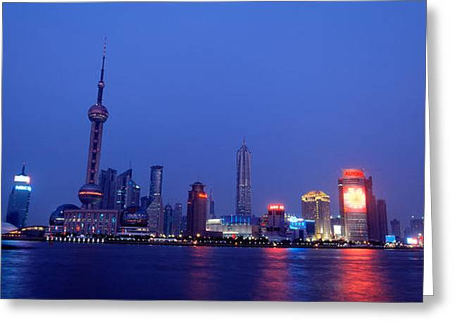 Pudong Greeting Cards - Buildings At The Waterfront Lit Greeting Card by Panoramic Images