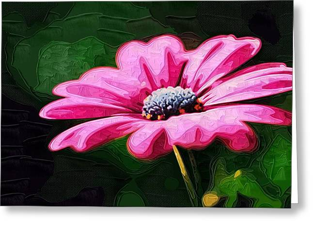 Printables Greeting Cards - canvas Painting Of Flowers Greeting Card by Victor Gladkiy