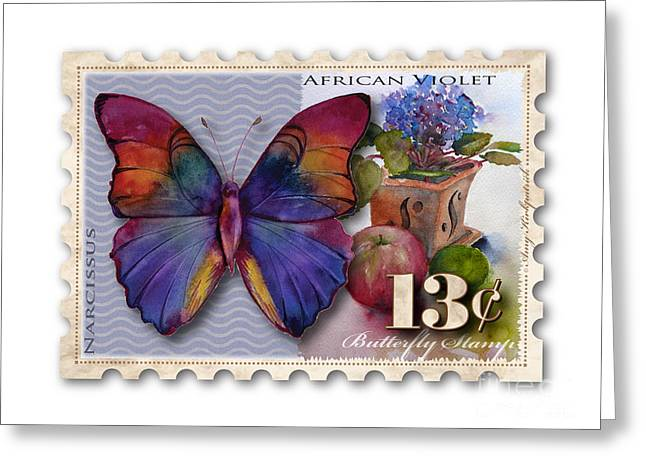 13 Cent Butterfly Stamp Greeting Card by Amy Kirkpatrick