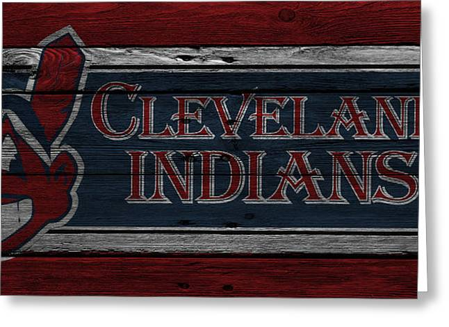 Cleveland Baseball Greeting Cards - Cleveland Indians Greeting Card by Joe Hamilton