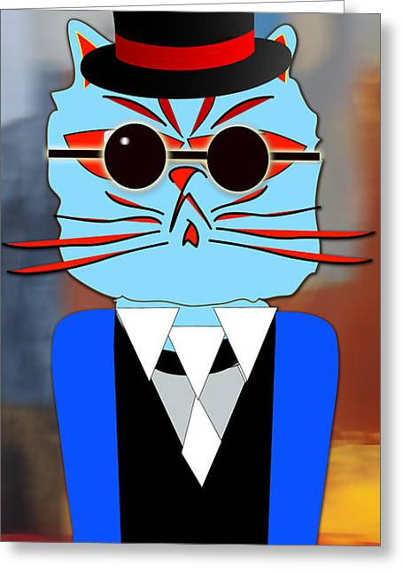Cool Cat Greeting Card by Marvin Blaine