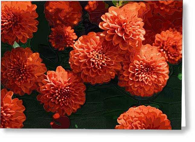 Close Up Paintings Greeting Cards - Flowers canvas print Greeting Card by Victor Gladkiy