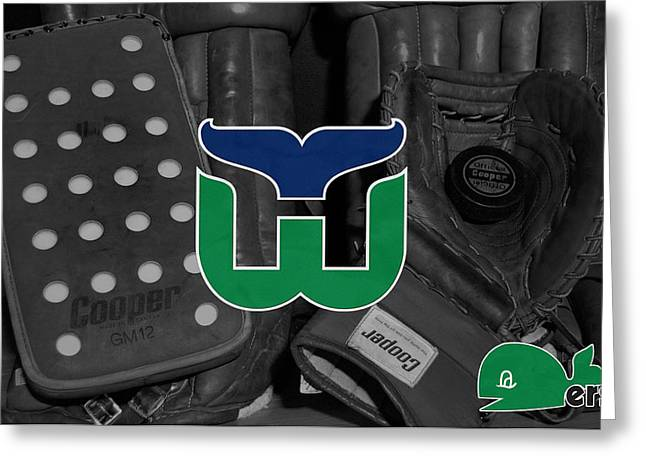 Skate Greeting Cards - Hartford Whalers Greeting Card by Joe Hamilton