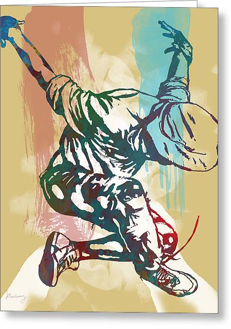 Pop Mixed Media Greeting Cards - Hip Hop Street Dancing  pop stylised art poster Greeting Card by Kim Wang
