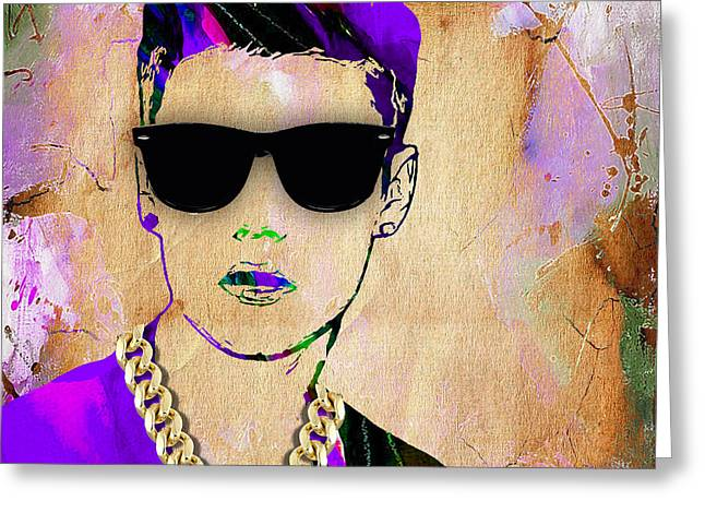 Justin Bieber Greeting Cards - Justin Bieber Collection Greeting Card by Marvin Blaine