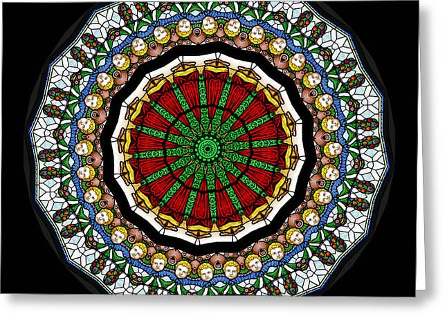 Lamb Greeting Cards - Kaleidoscope Stained Glass Window Series Greeting Card by Amy Cicconi
