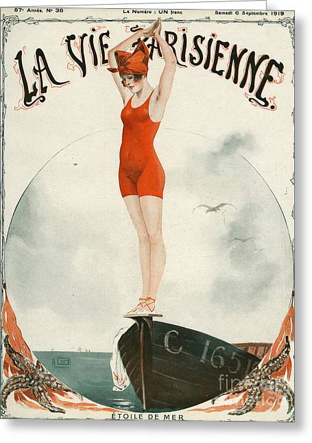 WomenÕs Drawings Greeting Cards - La Vie Parisienne  1919 1910s France Greeting Card by The Advertising Archives