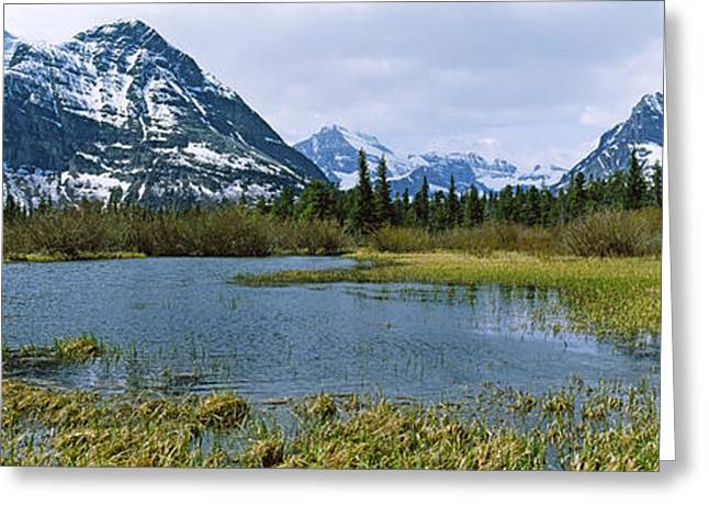 Us Glacier National Park Greeting Cards - Lake With Mountains In The Background Greeting Card by Panoramic Images