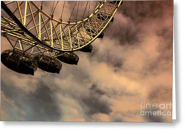 Indian Summer Greeting Cards - London Eye against sky background Greeting Card by Indian Summer