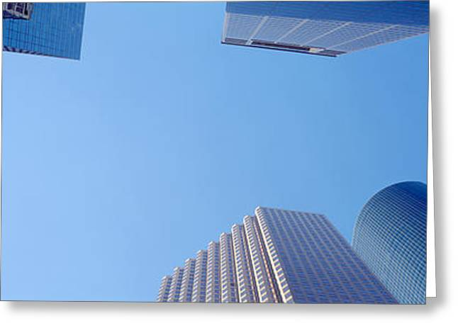 Directly Below Greeting Cards - Low Angle View Of Skyscrapers Greeting Card by Panoramic Images