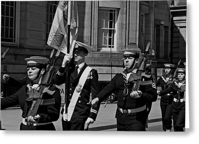 Bayonet Greeting Cards - Members of the British armed forces marching through liverpool Greeting Card by Ken Biggs