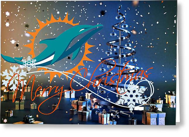Offense Greeting Cards - Miami Dolphins Greeting Card by Joe Hamilton