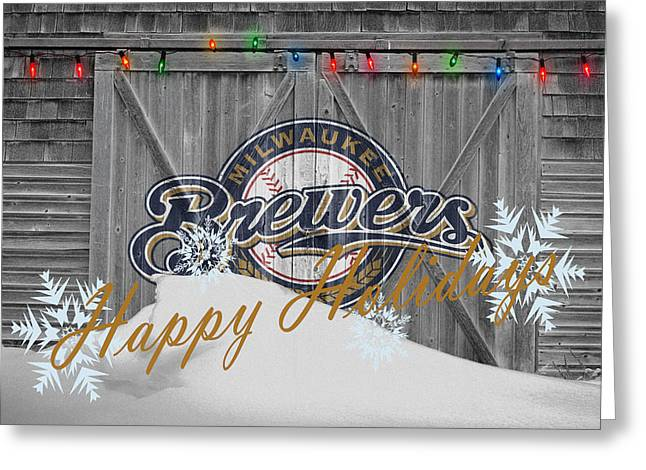 Glove Greeting Cards - Milwaukee Brewers Greeting Card by Joe Hamilton