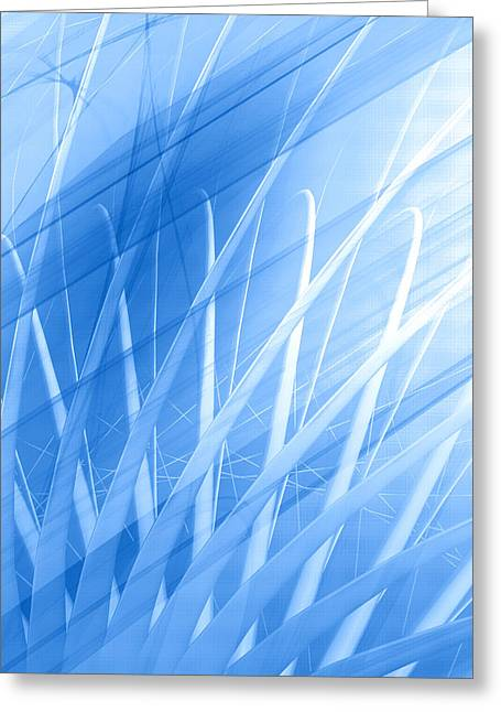 Geometric Style Greeting Cards - Modern Blue Abstract Greeting Card by Modern Art Prints