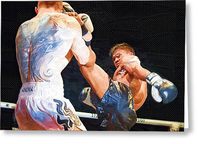 Recently Sold -  - Boxer Digital Art Greeting Cards - Muay Thai Arts of Fighting Greeting Card by Rames Ratyantarakor