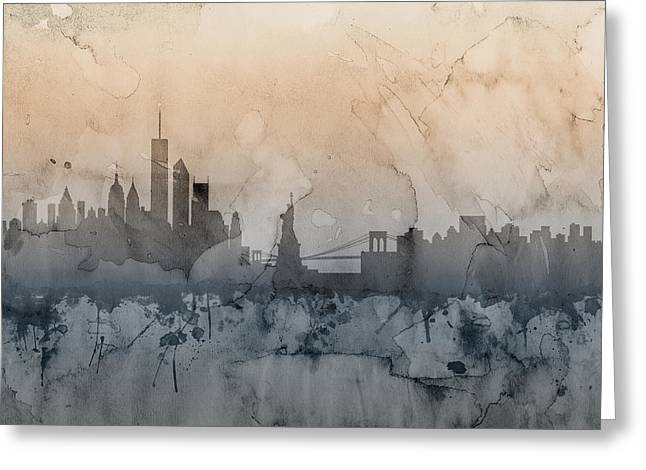 Skyline Greeting Cards - New York Skyline Greeting Card by Michael Tompsett