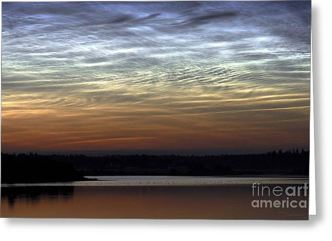 Colorful Cloud Formations Greeting Cards - Noctilucent Cloud Greeting Card by Pekka Parviainen