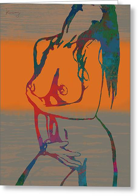 Pop Mixed Media Greeting Cards - Nude pop stylised art poster Greeting Card by Kim Wang