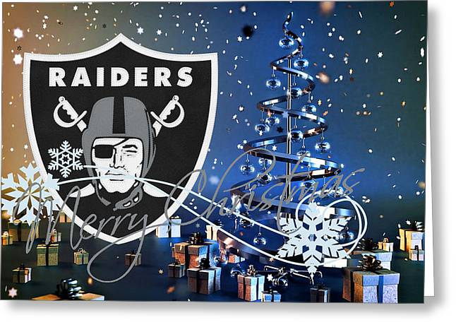 Offense Greeting Cards - Oakland Raiders Greeting Card by Joe Hamilton