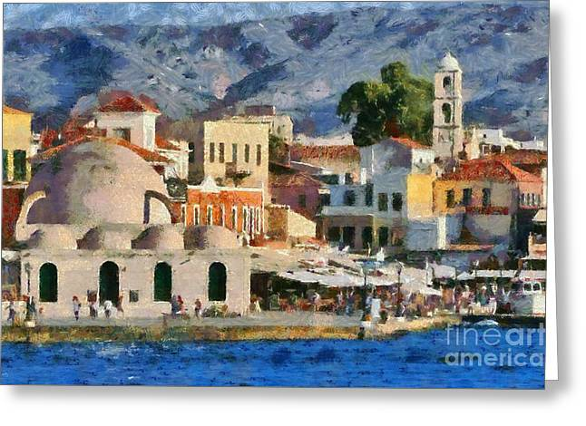 Traditional Greeting Cards - Painting of the old port of Chania Greeting Card by George Atsametakis