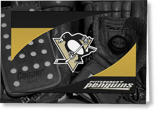 Penguins Greeting Cards - Pittsburgh Penguins Greeting Card by Joe Hamilton