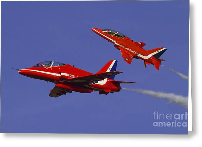 Red White And Blue Prints Greeting Cards - Red Arrows Greeting Card by J Biggadike