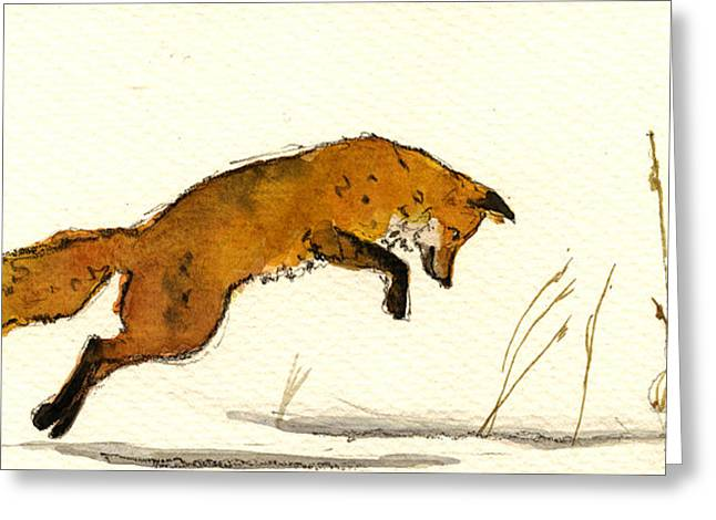 Watching Greeting Cards - Red Fox Greeting Card by Juan  Bosco