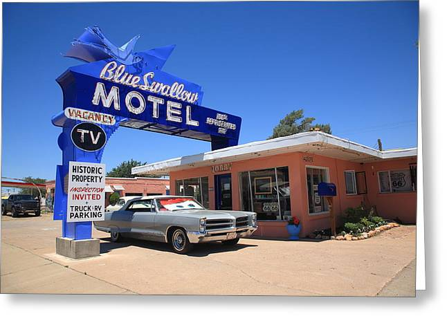 66 Greeting Cards - Route 66 - Blue Swallow Motel Greeting Card by Frank Romeo