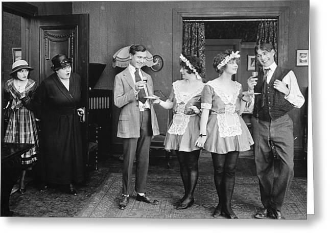 Housemaid Greeting Cards - Silent Film Still: Drinking Greeting Card by Granger