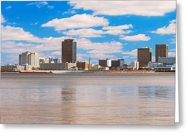 Baton Rouge Greeting Cards - Skyscrapers At The Waterfront Greeting Card by Panoramic Images