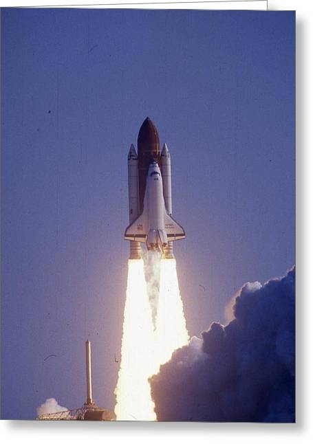 Spectacular Greeting Cards - Space Shuttle Challenger  Greeting Card by Retro Images Archive