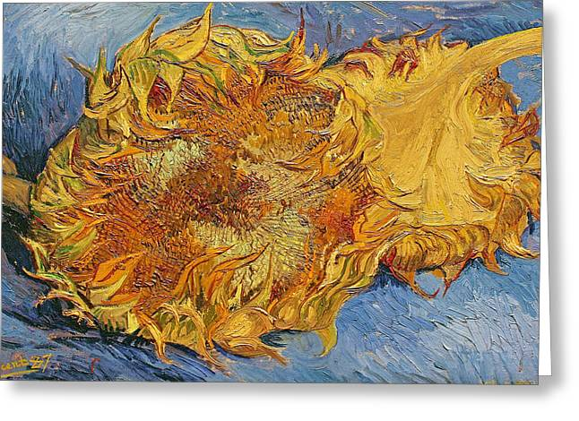 Vincent Paintings Greeting Cards - Sunflowers Greeting Card by Vincent Van Gogh