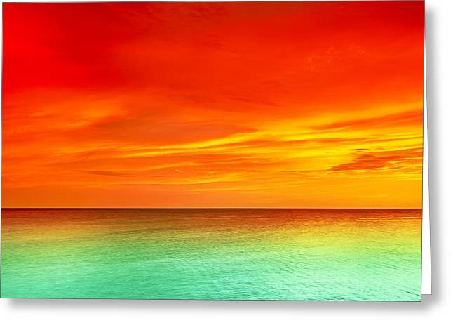 Panoramic Ocean Greeting Cards - Sunset Greeting Card by MotHaiBaPhoto Prints