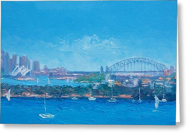 Sydney Harbour And The Opera House By Jan Matson Greeting Card by Jan Matson