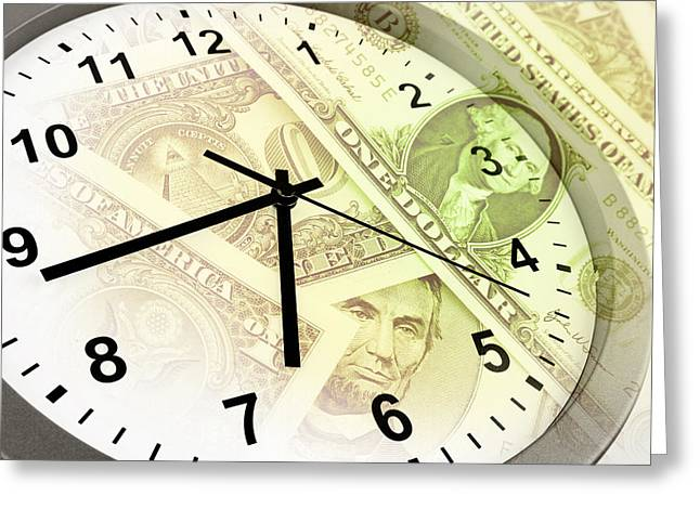 Payment Greeting Cards - Time is money  Greeting Card by Les Cunliffe