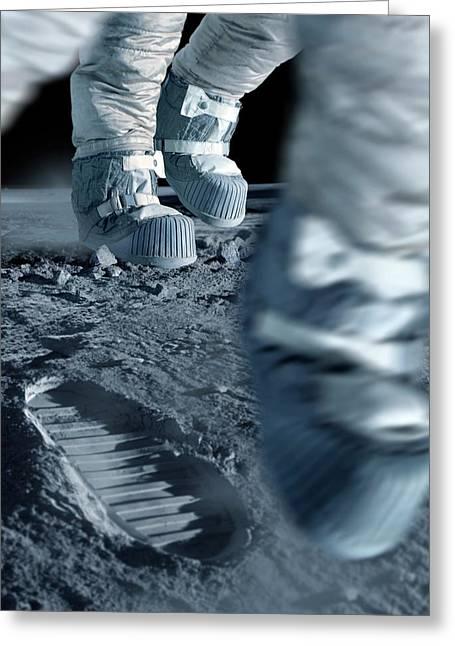 Walking On The Moon Greeting Card by Detlev Van Ravenswaay