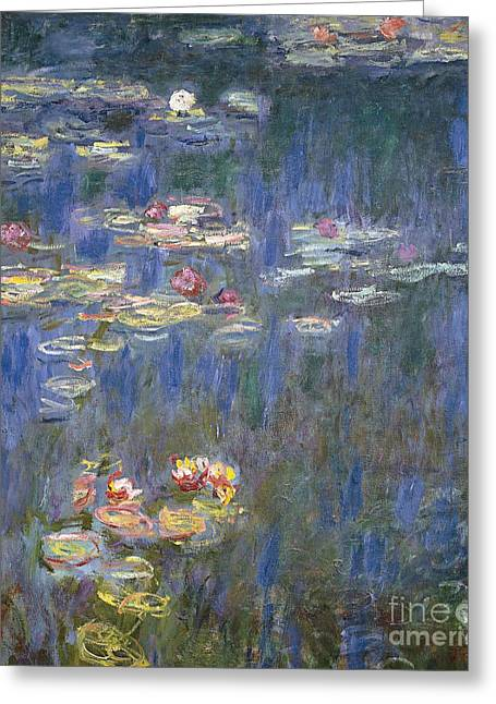 20th Greeting Cards - Water Lilies Greeting Card by Claude Monet