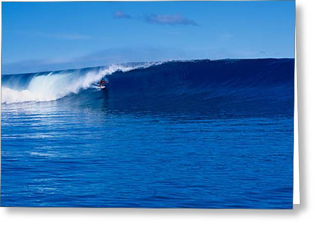 Clouds In Motion Greeting Cards - Waves Splashing In The Sea Greeting Card by Panoramic Images