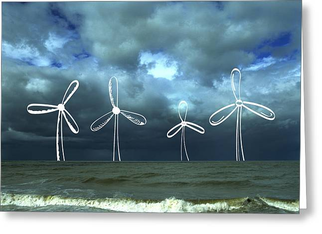 Ocean Images Greeting Cards - Wind Turbine Greeting Card by Bernard Jaubert