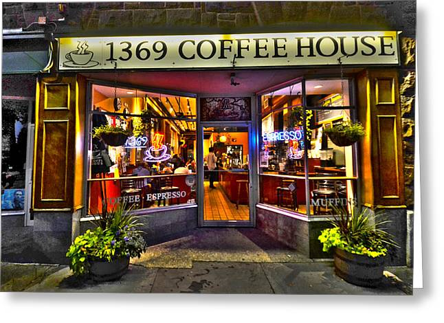 Night Cafe Greeting Cards - 1369 Coffee House Cambridge MA Greeting Card by Toby McGuire