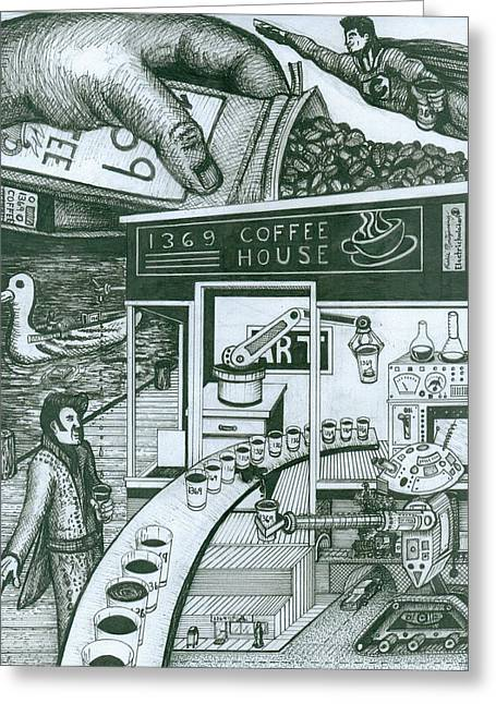 Richie Montgomery Greeting Cards - 1369 Coffee House Greeting Card by Richie Montgomery