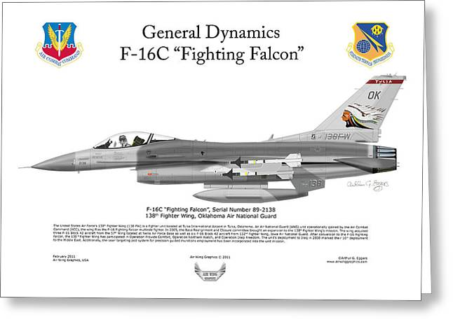 Squadron Graphics Greeting Cards - 138FW F-16C Fighting Falcon Greeting Card by Arthur Eggers