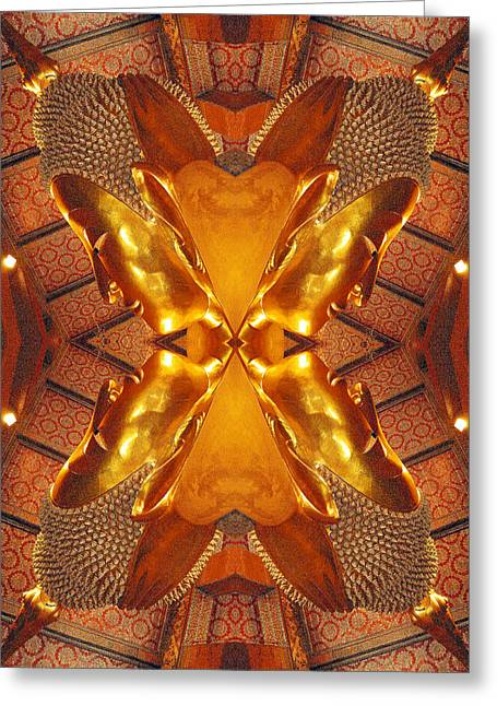 Applause Greeting Cards - 13997. The Reclining Buddha. Greeting Card by Andy Za