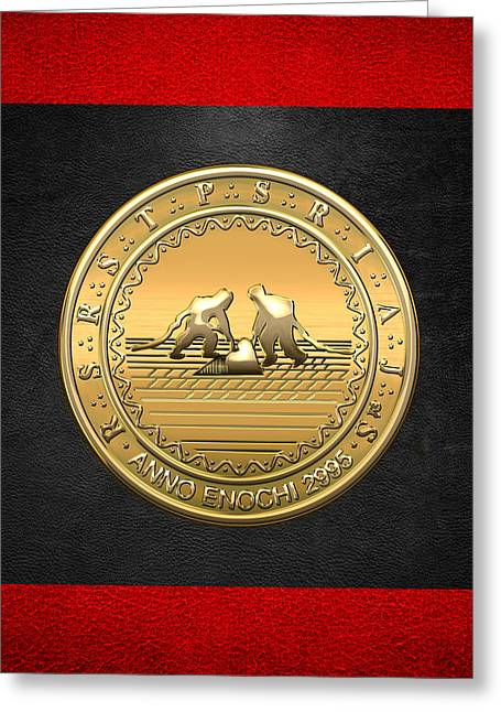 The Vault Digital Greeting Cards - 13th Degree Mason - Royal Arch of Solomon Masonic Jewel  Greeting Card by Serge Averbukh