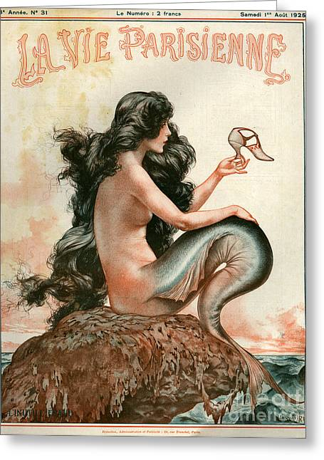 Nautical Greeting Cards - 1920s France La Vie Parisienne Magazine Greeting Card by The Advertising Archives