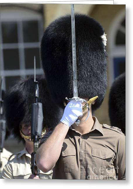 Face Recognition Photographs Greeting Cards - 1st Battalion Welsh Guards On The Drill Greeting Card by Andrew Chittock