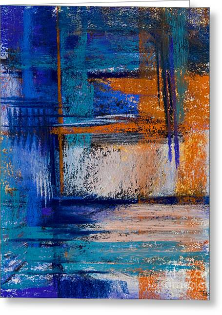 Contemporary Abstract Pastels Greeting Cards - Morning Blues #14 Greeting Card by Tracy L Teeter