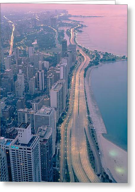 Lake Shore Drive Greeting Cards - Aerial View Of Buildings In A City Greeting Card by Panoramic Images