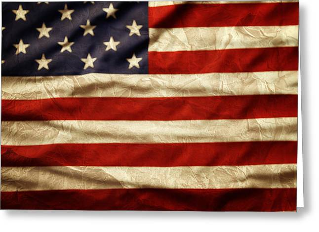American Flag Art Greeting Cards - American flag Greeting Card by Les Cunliffe